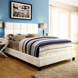 Inspire Q - INSPIRE Q Fenton White Bonded Leather Panel Queen-sized Upholstered Platform Bed - The Sarajevo queen-sized platform bed provides a modern,graphic punch of style to the bedroom. Constructed of white vinyl,this bed is designed with a spring platform. This inclusion makes a box-spring unnecessary and streamlines the appearance.