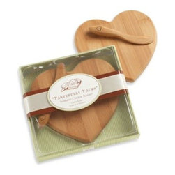 Kate Aspen - Kate Aspen Tastefully Yours Heart-Shaped Bamboo Cheese Board - Heart-shaped and handsomely gift-boxed, this bamboo cheese board and spreader is truly a take-home treasure. Perfect for any wine and cheese parties or for offering an adorable spread to your gatherings.