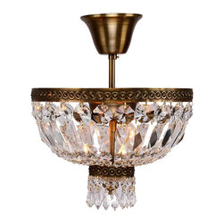 Worldwide Lighting - Metropolitan Collection 3 Light Antique Bronze Finish Crystal Semi-Flush Light - This stunning 3-light ceiling light only uses the best quality material and workmanship ensuring a beautiful heirloom quality piece. Featuring a radiant antique bronze finish and finely cut premium grade crystals with a lead content of 30%, this elegant ceiling light will give any room sparkle and glamour. Worldwide Lighting Corporation is a premier designer manufacturer and direct importer of fine quality chandeliers, surface mounts, and sconces for your home at a reasonable price. You will find unmatched quality and artistry in every luminaire we manufacture.