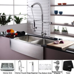 Kraus - Stainless Steel Farmhouse Kitchen Sink Faucet - Add an elegant touch to your kitchen with unique Kraus kitchen combo. Kitchen Sink. Kraus kitchen sink boasts 16-gauge premium grade T-304 stainless steel construction. Scratch-resistant commercial-grade premium satin finish. Padded and Stone Guard undercoated insulation over a rubber pad reduces noise while sink is in use. Features unique Kraus 0.75-inch radius curved corners for easy cleaning and a stylish look. Set of stainless steel bottom grids with protective feet and bumpers, Stainless steel basket strainer, Stainless steel strainer and Dish towel are included. Mounting and installation brackets, cutout template are included. 35.9 inches L x 20.75 inches W x 10 inches H (overall sizes). 19 inches L x 16 inches W x 10 inches H (bowl sizes). 13 inches L x 16 inches W x 10 inches H (bowl sizes). Certified and Listed by UPC, cUPC, CSA, IAPMO, ANSI and SCC. Limited Lifetime Warranty. Faucet. Faucet is constructed from solid brass with stunning triple plated chrome finish. Solid brass body and commercial pull-down pre-rinse spray on spiral spring. Contains Sedal drip-free ceramic cartridge. Spring aerated flow powerful spray with integrated water hammer arrestor. Single-lever side mixer. Spring-tensioned retractable hose. Spout swivels 360-degrees. Hermetically sealed with adjustable temperature and flow rate limitation. Single-lever water and temperature control. Single-hole, top-mount installation. Water pressure tested for industry standard. Standard US plumbing connections. 2.2 GPM flow rate. Installation in a 1.375-inch hole. All mounting hardware and hot/cold waterlines are included. Faucet height (overall): 28.5 inches. Spout reach: 9.5 inches. Hose measures 28 inches long. 5 Years Limited Manufacturer Warranty. Soap Dispenser. Soap Dispenser is constructed from solid brass with stunning triple plated chrome finish. Easy-push, self-priming pump. Swivels 360 degrees. Refillable from above. Holds 14 ounces of liquid. Measures 2.1 inches high x 3.5 inches deep. Requires 1.25-inch hole. Limited Lifetime WarrantyInstruction Manual