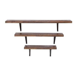 """BZBZ92602 - Metal Wall Shelf with A Dark Gratin Finish - Set of 3 - Metal Wall Shelf with A Dark Gratin Finish - Set of 3. Designed to offer versatile functionality, the wood metal wall shelf ensures lasting usage. It comes with the following dimensions 48"""" W x 8"""" D x 9"""" H. 36"""" W x 8"""" D x 9"""" H. 24"""" W x 8"""" D x 9"""" H."""