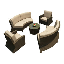 Forever Patio - Barbados 5 Piece Outdoor Curved Sectional Set, Spectrum Mushroom Cushions - Give your patio a new, modern look and lots of outdoor seating with the Forever Patio Barbados 5 Piece Outdoor Rattan Sectional Set with Beige Sunbrella cushions (SKU FP-BAR-5SEC-EB-SM). The set seats 6 adults comfortably and features Ebony resin wicker with a flat-woven design. Each strand of this outdoor wicker is made from High-Density Polyethylene (HDPE) and is infused with its rich color and UV-inhibitors that prevent cracking, chipping and fading ordinarily caused by sunlight, surpassing the quality of natural rattan. The round outdoor sofa set is supported by thick-gauged, powder-coated aluminum frames that make it extremely durable. Also included are cushions covered in fade- and mildew-resistant Sunbrella fabric. The deep seats and plush cushions make this curved patio sofa set a delight to enjoy with family and friends.