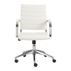 Eurostyle - Axel Low Back Office Chair-White/Aluminum - Leatherette seat and back over foam