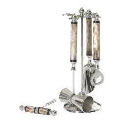 Zodax - Zodax Five Piece Bone Handle Bar Tool Set - Zodax - Bar Tools - IN4694. Five Piece Bone Handle Bar Tool Set
