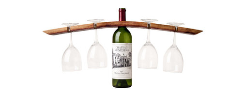 Alpine Wine Design - Double Butler Wineglass and Bottle Holder - All you need are three more friends to help you drink it. A curved, reclaimed wine barrel stave is cut and drilled to hold four stemmed wineglasses on top of a bottle of your favorite vintage. Grab a waiter's corkscrew, put a white bar towel over your arm and take it all to the table to impress your friends.