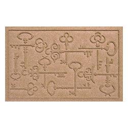 Bungalow Flooring - Aqua Shield 2'x3' Keys to the City Doormat, Medium Brown - Premium 24-oz. anti-static polypropylene mat traps dirt, water and mud.