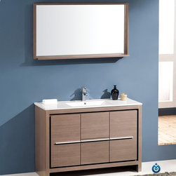 "Fresca - Fresca Allier 48"" Modern Bathroom Vanity - Grey Oak - At a width of 48"" and depth of 18"" and a height of 33.5"", the Fresca Allier bathroom vanity is one of most compact free standing vanities available on the site. Accented with a 47"" wide x 25.5"" high mirror that includes a 6"" deep shelf, this bathroom vanity can add both convenience and style to any modernly designed restroom. The optional side cabinet, sold separately, can further enhance your storage options.The Fresca Allier bathroom vanity comes complete with a matching ceramic countertop sink, p-trap and pop-up drain, along with the main cabinet, mirror, and standard hardware needed for installation. This bathroom vanity also comes with your choice of faucet for optimal personalization.DecorPlanet is proud to offer Fresca Bathroom products. Fresca is a leading manufacturer of high-quality vanities, accessories, toilets, faucets, and everything else to give you the freshest bathroom in the neighborhood. Fresca is known for carrying the latest and most popular styles in modern and contemporary bathroom design that are made with high quality materials and superior workmanship."
