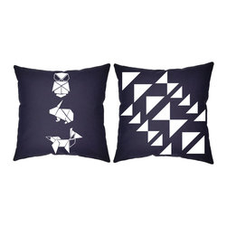RoomCraft - RoomCraft 2pc Origami Pillow Covers/Cushion Set, Blue, 16x16 Inches, Origami Ani - FEATURES: