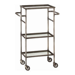 "Arteriors - Arteriors Home - Leon Serving Cart - 6441 - Arteriors Home - Leon Serving Cart - 6441 Features: Leon Collection Serving CartNatural ColorIron FinishNatural Iron MaterialAntique mirror Some Assembly Required. Dimensions: 18"" W X 12"" D X 37"" H"