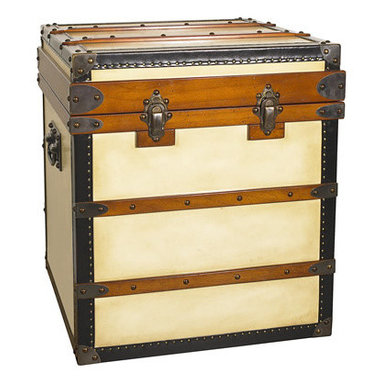 """Polo Club End Table Trunk - The polo club end table measures 21.7"""" x 21.7"""" x 23.6"""". Once there was a time when porters took care of luggage. Functional a century ago; now an elegant and decorative treasure. Built to be loaded in baggage rail-carts and ship's holds. Royalty and upper-class in the Belle Epoque traveled with specialized trunks. Armoires, bars, libraries, and of course the ubiquitous hat-trunks. After all, hats were de rigeur at the time! Antique French trunks made by legendary makers now fetch exorbitant sums at auction. Our trunks are inspired by the old, classic, travel trunks of yore. True canvas covered. Solid brass hardware. Steamer-varnished hardwood slats. Ideal as an end table, combining storage with functionality and design! Roomy and strong, an heirloom for future generations."""