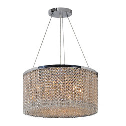 """Worldwide Lighting - Prism 9-Light Chrome Finish Crystal String 20"""" Round Chandelier - This stunning 9-light Crystal Chandelier only uses the best quality material and workmanship ensuring a beautiful heirloom quality piece. Featuring a radiant chrome finish and finely cut premium grade clear crystals with a lead content of 30%, this elegant chandelier will give any room sparkle and glamour. Dual-mount option for flush or suspension. Worldwide Lighting Corporation is a privately owned manufacturer of high quality crystal chandeliers, pendants, surface mounts, sconces and custom decorative lighting products for the residential, hospitality and commercial building markets. Our high quality crystals meet all standards of perfection, possessing lead oxide of 30% that is above industry standards and can be seen in prestigious homes, hotels, restaurants, casinos, and churches across the country. Our mission is to enhance your lighting needs with exceptional quality fixtures at a reasonable price."""