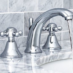 "Sussex Faucet, Chrome finish - Our Sussex Collection is known for its exceptional durability and versatile designs that suit baths of all styles. Crafted from solid brass, our new faucet features graceful curves, stepped bases and a thickly plated finish. Constructed of cast brass with a braided stainless steel hose. Pop-up drain assembly included. Water flow measures 2.2 GPM. Adjustable 8"" - 16"" spread allows for flexible istallation. Professional installation required. View our {{link path='pages/popups/fb-bath.html' class='popup' width='480' height='300'}}Furniture Brochure{{/link}}."