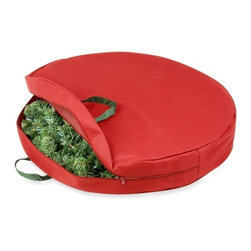 """30In Zipper Canvas Wreath Storage - Honey-Can-Do SFT-01596 30"""" Holiday Wreath Storage Bag with Handles and Zipper, Red/Pine Green. This bag is the perfect solution for your wreath storage needs. Provides dust-free storage for any wreath up to 30 inches in diameter. Easy open zipper gives quick access to contents and sturdy carrying handles allow for easy transport or hanging while in storage. Protect your holiday wreath from dust, dirt, and moisture with this zipper-closure bag and keep it looking its best until the next season arrives."""