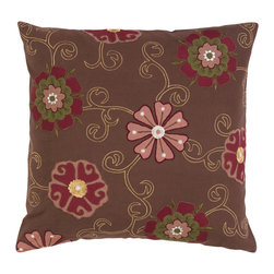 Surya - Floral Square Cotton Pillow SI-2020 - A lovely floral design of soft colors brings a touch of beauty to any space. The decorative brown pillow is accented by multi colored flowers. This pillow contains a poly fill and a zipper closure. Add this pillow to your collection today.