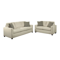 "Benchley - 2-Piece Trivia Ivory Fabric Upholstered Sofa and Love Seat Set - 2-Piece Trivia ivory fabric upholstered sofa and love seat set with square arms and nail head trim. Sofa measures 88"" x 37"" x 38"" h. Love seat measures 63"" x 37"" x 38"" h. Chair and ottoman also available separately. This set comes as shown or available in black and burlap color also."