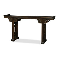 "China Furniture and Arts - Vintage Elmwood Altar Style Console Table - Exhibiting its pleasing simple lines in a distinct Ming (1368-1644) style, this vintage Elmwood altar table is skillfully constructed for long lasting durability.  It can be used for ancestor worship, but it also functions perfectly in a foyer or hallway to display vases or statues. Distressed espresso finish. Overall height from the tips of the altar wings to the floor is 44""H. Fully assembled. White glove delivery is available upon request."