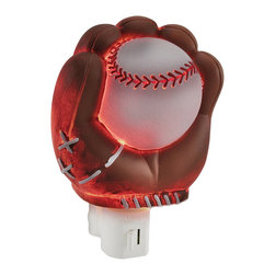 Children`s Baseball Glove and Ball Night Light Nite Lite - This baseball mitt and ball night light casts a soft glow in the darkness and will have your child dreaming of the big leagues instead of climbing into your bed at night. Made of cold cast resin, it measures 5 inches tall, 4 inches wide, and 3 inches deep. It has a 360 degree swivel plug to accommodate any outlet, and it uses a 7 watt (max) type C night light style bulb (included). The light has an on/off switch on the front, and is recommended for children ages 6 and up.