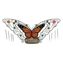 """Benzara - Garden Butterfly Wind Chime - This magnificent butterfly showpiece will decorate your house with a unique style. This piece of art is quite aesthetic with simple and striking attributes which will surely catch attention of any visitor to your house. The intricate pattern and the beautiful colors make it perfect for modern homes and minimal settings. It is made with fiber material which is known for its durable properties and robustness. The showpiece offers versatility and can be incorporated anywhere in your home. Easy to maintain and clean, you will definitely not regret your choice of this butterfly showpiece..; Durable and robust in make; Made from fiber material; Sleek and stylish; Weight: 1.59 lbs; Dimensions:24""""W x 3""""D x 12""""H"""