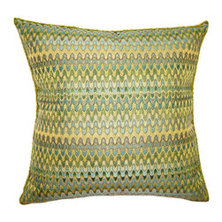 Squarefeathers - Luca Pillow, Zig Zag Pillow - The Luca Collection is great for adding color and a variety of texture. Imagine these bright pastels against dark wood. Made of polyester and rayon with a knife edge trim. It has a soft and pump feataher/down insert inclosed with a zipper. Like all of our products, this pillow is handmade, made to order exclusively in our studio right here in the USA.
