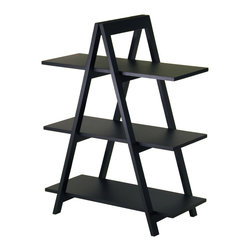 Winsome Wood - Winsome Wood 20130 A-Frame 3-Tier Shelf in Black - A unique shelving A-frame shelf Features: an exciting, modern design, these shelves are ideal for storing and displaying books and more. The shelf will provide your home with  a great practical accent piece. Sold wood frame, MDF Shelves, Black finish Assembly required.