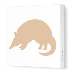 "Avalisa - Silhouette - Armadillo Stretched Wall Art, 12"" x 12"", Light Brown - Take a walk on the wild side with this adorable Armadillo silhouette. ""Armadillo"" means ""little armored one"" in Spanish, and this stretched canvas wall art gets rave reviews for a little one's bedroom or playroom."