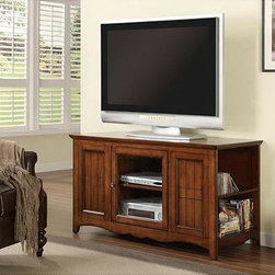 Monarch - Solid Oak and Veneer 48-inch TV Stand - Add a dose of practicality to your living room with this wooden 48-inch TV stand. This stand is made of solid oak,so it is both sturdy and stylish. The stand holds up to a 50-inch TV,and you can easily store your items within the two cupboards.