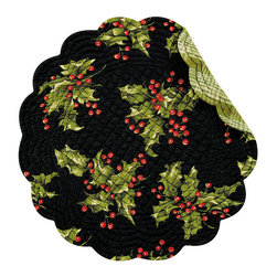 C F enterprises - Holly Black Round Placemat - High quality quilted placemats by C F Enterprise transform your table in fresh colors and styles.    Black with holly sprigs. Reverses to green plaid.