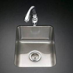 """KOHLER - KOHLER K-3163-NA Undertone Squared Single-Basin Undercounter Kitchen Sink - KOHLER K-3163-NA Undertone Squared Single-Basin Undercounter Kitchen Sink, 9-1/2"""" deep in Stainless Steel"""