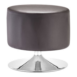 Zuo Modern - Plump Ottoman Brown - Add a wonderful accent to your home with our Plump Ottoman. The body of the ottoman is upholstered with finest brown leatherette and is mounted on a chromed stainless steel swivel base. It's the perfect ottoman to compliment any bedroom, living room or office.