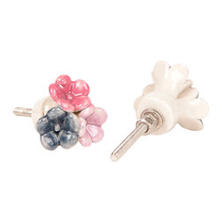 MarktSq - Ceramic Knob (Flower Bunch) - Set of 4 - Flower bunch ceramic knob (Set of 4) . Charming ceramic knob with three flowers in shades of pink and black. This one of kind knob is sure to dress up your furniture and cheer up the room.