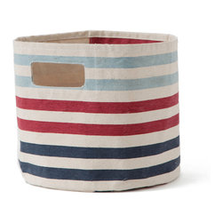 "Pehr Designs - 3 Stripe Pint Boy Blue, Red - Perfect for diapers, creams and other small stuff! 100% heavy-weight durable cotton canvas. 9"" x 10"""