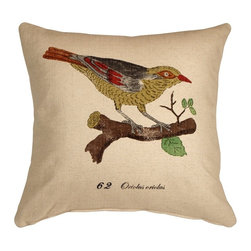 Pillow Decor - Pillow Decor - Bird on Branch 20 x 20 Throw Pillow - This darling pillow will give you something to tweet about.  Whether or not you have an avian themed decor, the decorative throw pillow — featuring a golden oriole — will make a charming addition. You'll love the sweet melody it evokes.