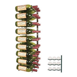 Vintage View 27-Bottle Wall Mounted Wine Storage Rack - The Vintage 27-Bottle Wall Mounted Storage Rack will display your favorite wines right up against the wall. This storage rack is made of Metal and is available in the finish of your choice. This wine rack can store up to 27 bottles of wine with full view of the bottle labels so you can easily find a particular bottle. This wine rack provides perfect airflow between bottles. Modular in design this wine rack will work in virtually any space. Parts come fully assembled which makes for easy installation - all you'll need to do is mount it to the wall! About Wine Master Cellars for Vintage ViewWine Master Cellars manufactures and sells wine storage and display systems that combine quality craftsmanship and an innovative aesthetically pleasing design. In 2001 company owner Doug McCain created the patented Vintage View label-forward wine racking display system and it has since become one of fastest growing metal modular systems in the United States. Wine Master Cellars products are used in homes wine stores hotels grocery stores bars and restaurants around the world. The company has an office and showroom in Denver Colorado and prides itself in helping its customers create the wine cellar of their dreams.