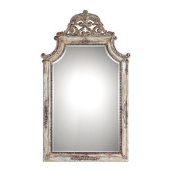 Uttermost - Portici Antique Ivory Mirror - This mirror must have once graced a silk-covered wall in a French chateau. That's what you'll think when you see this ornate, ivory finished mirror with its queenly shape and inviting details. If your home is your castle, surely you deserve this.