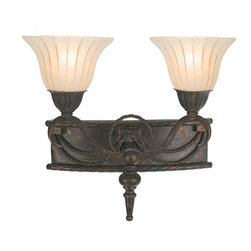 Yosemite Home Decor - Yosemite Isabella Bathroom Vanity - 16.5W in. Earthen Bronze - F051B02EB - Shop for Bathroom Lighting from Hayneedle.com! Elegance is easy with the Yosemite Isabella Bathroom Vanity - 16.5W in. Earthen Bronze fixture. Crafted with durable metal in an antiqued earthen bronze finish this small fixture's rope-style trim and two flower-shaped Spanish scalloped glass shades make a big style statement. Requires two 60W medium base incandescent bulbs (not included).About Yosemite Home DecorWith a variety of products in a variety of styles Yosemite Home Decor strives to provide a solution for every home design need. Based in Fresno Calif. Yosemite specializes in high-quality lighting fixtures and related home decor products for commercial builder and residential markets.