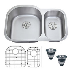"Ruvati - Ruvati RVM4400 Undermount 16 Gauge 32"" Kitchen Sink Double Bowl - With gentle, curved edges and rear-placed drains, the Varna series will keep your kitchen a very happy place. Each Varna sink features bottom rinse grids to protects your sink and basket strainers to trap items that may clog your drain"