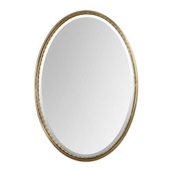 Uttermost - Uttermost 32x22 Oval Casalina Mirror in Brass - Plated, Brushed Brass Finish with Twisted Metal Rope Detail. Mirror is beveled.