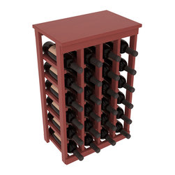 Wine Racks America - 24 Bottle Kitchen Wine Rack in Ponderosa Pine, Cherry Stain + Satin Finish - Petite but strong, this small wine rack is the best choice for converting tiny areas into big wine storage. The solid wood top excels as a table for wine accessories, small plants, or whatever benefits the location. Store 2 cases of wine in a space smaller than most televisions!