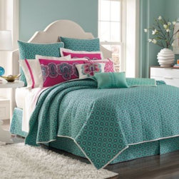 Laundry By Shelli Segal - Laundry by Shelli Segal Shiva Coverlet - The Shiva coverlet is adorned with rows of medallions printed on a beautiful teal ground and reverses to a solid pale turquoise. This coverlet makes the perfect layering piece for the Shiva duvet cover, and looks great on its own, too.