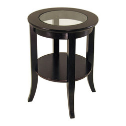Winsome Wood - Winsome Wood Genoa End Table w/ Glass Inset & One Shelf in Dark Espresso - End Table w/ Glass Inset & One Shelf in Dark Espresso belongs to Genoa Collection by Winsome Wood Elegantly design with glass top, this end table. Its flared leg, shelf blends well with any style of room decor. End Table (1)