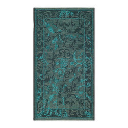 """Safavieh - Evelyn Rug, Black / Turquoise 2' X 3'6"""" - Construction Method: Power Loomed. Country of Origin: Turkey. Care Instructions: Vacuum Regularly To Prevent Dust And Crumbs From Settling Into The Roots Of The Fibers. Avoid Direct And Continuous Exposure To Sunlight. Use Rug Protectors Under The Legs Of Heavy Furniture To Avoid Flattening Piles. Do Not Pull Loose Ends; Clip Them With Scissors To Remove. Turn Carpet Occasionally To Equalize Wear. Remove Spills Immediately. Elegant Old World velvet motifs make a fashion statement for the floor in PALAZZO. A rich vintage look is achieved with a combination of lustrous and matte yarns in polypropylene and natural jute, and textural chenille for velvety pattern dimension."""
