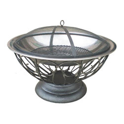 """Fire Sense - Stainless Steel Urn Fire Pit - This unique fire pit features a 30"""" stainless steel fire bowl which sits atop an attractive urn base. This fire pit comes complete with a dome fire screen with high heat paint and a wood grate. Also included is a screen lift tool."""