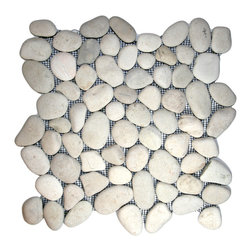 "CNK Tile - White Pebble Tile - Each pebble is carefully selected and hand-sorted according to color, size and shape in order to ensure the highest quality pebble tile available.  The stones are attached to a sturdy mesh backing using non-toxic, environmentally safe glue.  Because of the unique pattern in which our tile is created they fit together seamlessly when installed so you can't tell where one tile ends and the next begins!     Usage:    Shower floor, bathroom floor, general flooring, backsplashes, swimming pools, patios, fireplaces and more.  Interior & exterior. Commercial & residential.     Details:    Sheet Backing: Mesh   Sheet Dimensions: 12"" x 12""   Pebble size: Approx 3/4"" to 2 1/2""   Thickness: Approx 1/2""   Finish: White Natural"