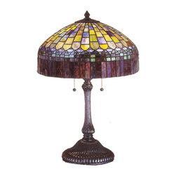 """Meyda - 24""""H Tiffany Candice Table Lamp - In the early 20th century, tiffany studios used it'sartful mastery to develop the look of a woven fabricwith a fringed skirt from art glass. Meyda tiffany hasrecreated this shade with amber plum glass fringesuspended from a domed brickwork of emerald, cobalt andruby tinted honey glass. Hand cut and copper foiledglass pieces make up this stately table lamp withmahogany bronze finish. Bulb type: med bulb quantity: 2 bulb wattage: 60"""