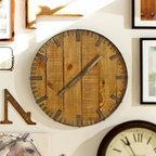 Rustic Wood Wall Clock | Pottery Barn -