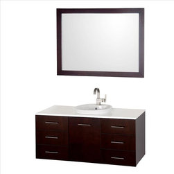 Wyndham Collection - Wyndham Arrano Vanity Espresso - The Arrano Vanity Set features compact design in a vanity with plenty of storage, blending simple lines and clean design with modern elements like semi-recessed vessel sink resulting in a modern yet timeless piece of bathroom furniture.