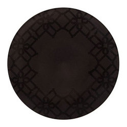 B by Brandie - Whitney Appetizer & Dessert Plate - The Whitney Collection is defined by refined lines in a regal black on black scheme with gold trim. This dramatic appetizer/dessert plate helps set the stage--and the table--for a sophisticated statement.