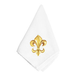 Caroline's Treasures - Black and Gold Fleur de lis Napkin 8125NAP - Black and Gold Fleur de lis Napkin 8125NAP Dinner Napkin - 100% polyester - wash, dry and lay flat.  No ironing needed.  20 inch by 20 inch