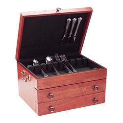 "Reed & Barton - Bristol Grande Mahogany Brown Flatware Chest - This is the grandest of them all the ultimate flatware storage chest, with space for up to 250 pieces, including 12 knives and 12 butter spreaders. Handcrafted with a beautiful cherry finish, it has a top drawer with an 8-slot rack for extra pieces and a second drawer with 5 sections for larger pieces. The interior is lined with forest green, tarnish-preventive silver cloth. Brass-finished handles, drawer pulls, and lid lift. Solid brass engravable nameplate. Use it to treat your precious flatware, or as a thoughtful gift to your beloved one.   * Dimensions: 15 x 11 1/4 x 8 3/4"" H * Cherry satin finish * Two fitted drawers, one with 8-slot flatware rack, the other with 5 compartments / Antiqued brass finished hardware  * Holds service for 12, up to 250 pieces"