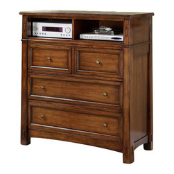 Riverside Furniture - Riverside Furniture Craftsman Home Entertainment Dresser - Riverside Furniture - TV Stands - 2963 - Riverside's products are designed and constructed for use in the home and are generally not intended for rental commercial institutional or other applications not considered to be household usage.Riverside uses furniture construction techniques and select materials to provide quality durability and value in our products and allows us to meet the wide range of design and budget requirements of our customers. The construction of our core product line consists of a combination of cabinetmaker hardwood solids and hand-selected veneers applied over medium density fiberboard (MDF) and particle board. MDF and particle board are used in quality furniture for surfaces that require stability against the varying environmental conditions in modern homes. The use of these materials allows Riverside to design heirloom quality furnishings that are not only beautiful but will increase in value through the years.